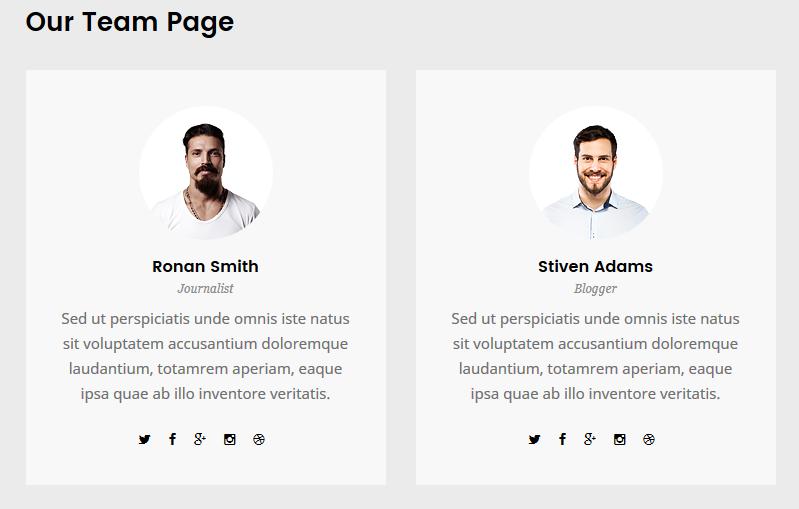 团队成员网页排版