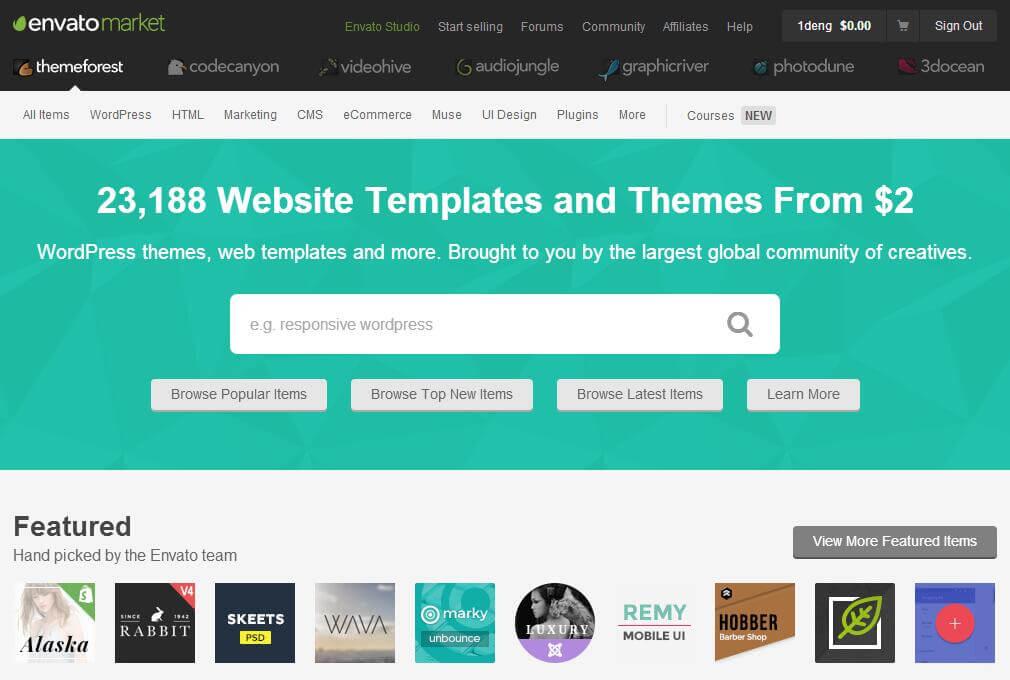 themeforest,最优质的网站模板市场